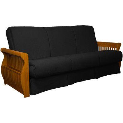 Concord Suede Sit N Sleep Futon and Mattress Frame Finish: Medium Oak, Size: Full, Upholstery: Ebony Black - http://delanico.com/futons/concord-suede-sit-n-sleep-futon-and-mattress-frame-finish-medium-oak-size-full-upholstery-ebony-black-656536951/