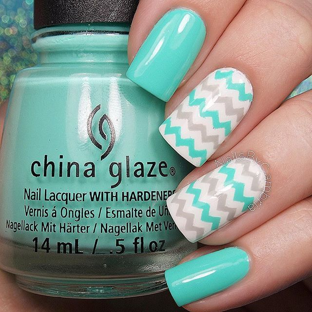 Instagram media nailsbycambria - Happy Friday! How cute are these gray and turquoise zig zag nails?  Tutorial coming right up! I used: @chinaglazeofficial Too Yacht To Handle, Recycle, and White On White @twinkled_t Skinny Chevron Vinyls @sechenails Seche Vite All polishes are from @hbbeautybar Use my code ✨nailsbycambria✨ for 15% off on hbbeautybar.com
