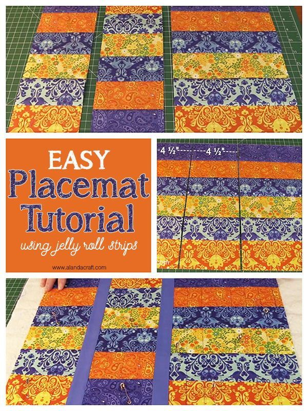 A Fast Easy Strip Placemat Tutorial Using Jelly Roll Strips A Simple Sewing Proje Beginner Sewing Projects Easy Placemats Patterns Quilted Placemat Patterns