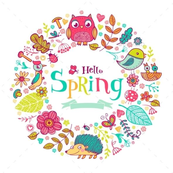 Hello Spring Banner In Doodle Style,acorn, animal, art, background, banner, beautiful, beetle, berry, card, decoration, design, doodle, flower, forest, graphic, greeting, hello, icon, illustration, leaf, nature, outline, owl, plant, spring, style, tamplet, twig, vector, welcome