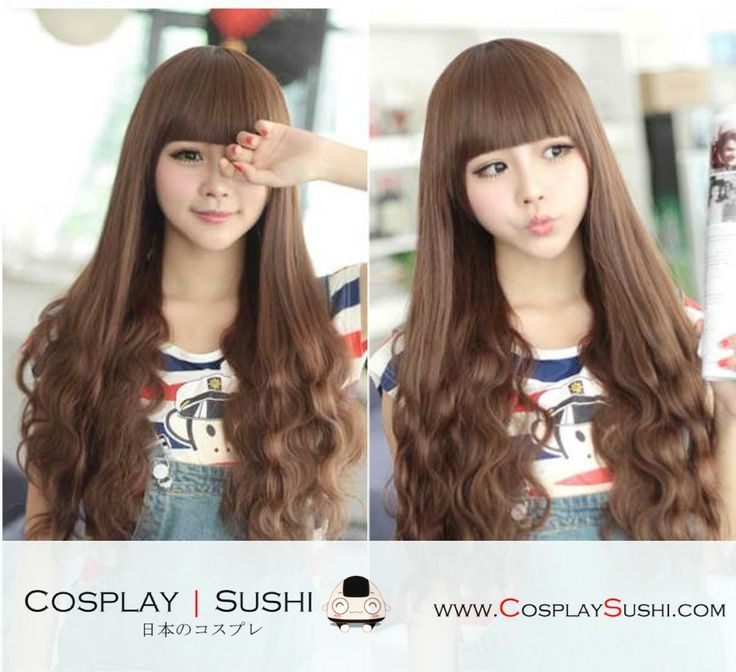 New Ji-Hee 3 Colors Hair Wigs! http://cosplaysushi.com/collections/soju/products/new-ji-hee-3-colors-long-with-bangs-hair-wigs-cs202 #cosplay #wigs #hair #hairstyle #cute #brown #curl #straight