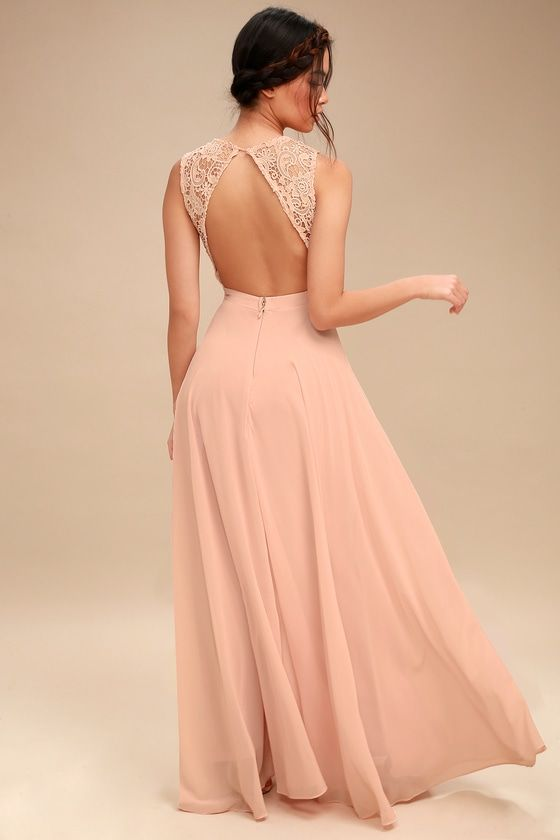 5ea1566b0810f Lovely Blush Pink Dress - Lace Maxi Dress - Backless Dress