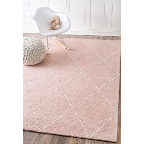 Found it at Wayfair - Dotted Diamond Trellis Hand-Tufted Baby Pink Area Rug