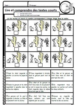 Les enfants, le chat et les cactus, lecture, compréhension, ce1, associer texte image, dixmois