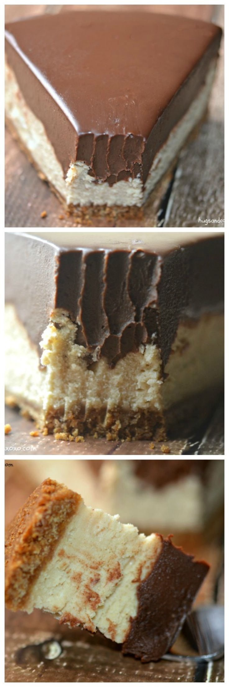 Chocolate Peanut Butter cheesecake. Ingredients: butter, graham cracker crumbs, sugar, cream cheese, sugar, salt, vanilla, eggs, sour cream, peanut butter, heavy cream, chocolate