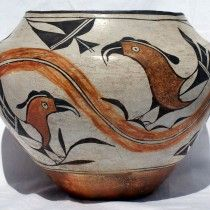 Lrg. Acoma Indian Pueblo Polychrome Pottery Jar - Parrots/Rainbow 1930′s w/large parrots over & under an undulating rainbow - 1/4″H x 11″ in dia. very good overall condition, no chips or cracks. Original no repairs, restoration or paint touch up. Insignificant minor wear from prior use. Shipping price includes insurance. California residents will be charged 9% state sales tax unless a resale exemption form is submitted. - ID# 1459 - $3,800.00 (Ted&Sandy) #antiques #jar