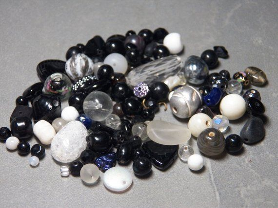 50g Variety Mixed Beads; Various Sizes Black//Grey//Silver//White