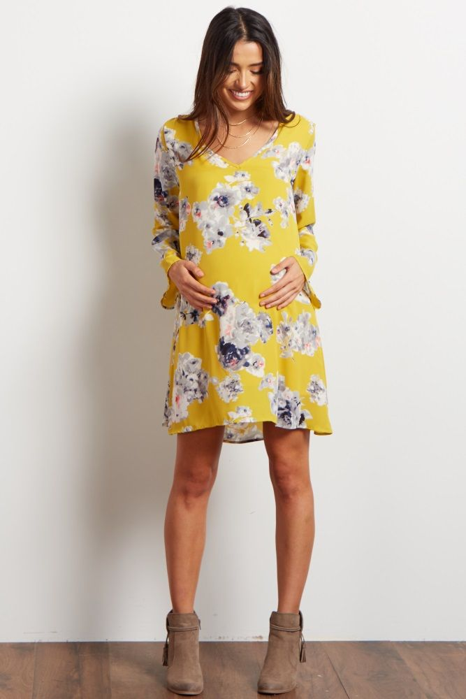 Yellow Floral Printed V-Neck Chiffon Dress