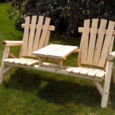 Moon Valley Rustic White Cedar Tete-a-Tete Seating Group   Wayfair