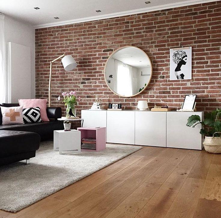 Wohnzimmer Teppich Besta Sideboard Schrank Steinwand Sofa Couch