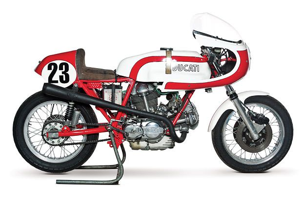 Carlo Saltarelli has Ducati blood in his veins. He's a former racer, test rider and dealership owner, and over the years, he's built up a 100-bike collection of classic Ducatis. In May, this collection goes under the hammer in Monaco. For us, the highlight is this beautiful 1974 750SS Corsa: it's one of Saltarelli's own race bikes, and took him to several podium finishes during the 1974 and 1975 seasons.