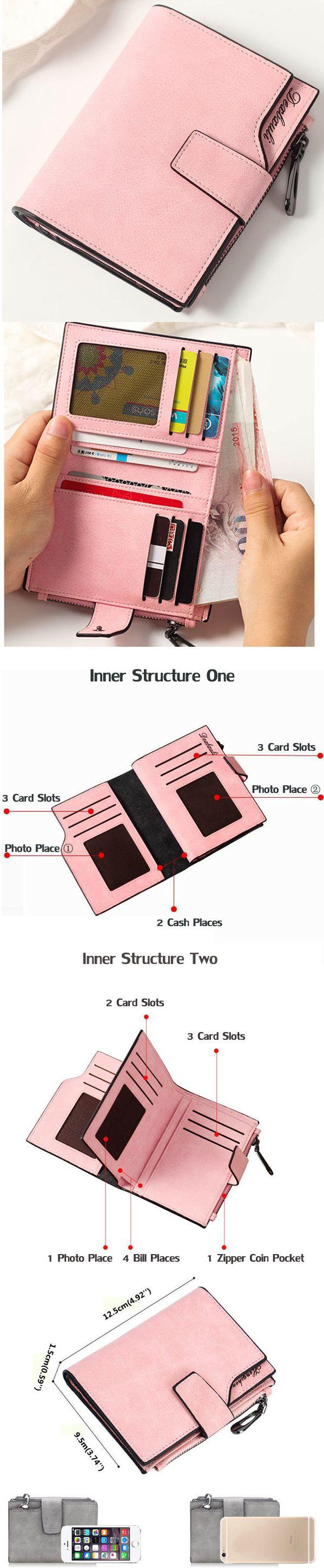 US$8.78 Seven Colors Woman PU Short Style Card Bag Elegant Wallet Purse