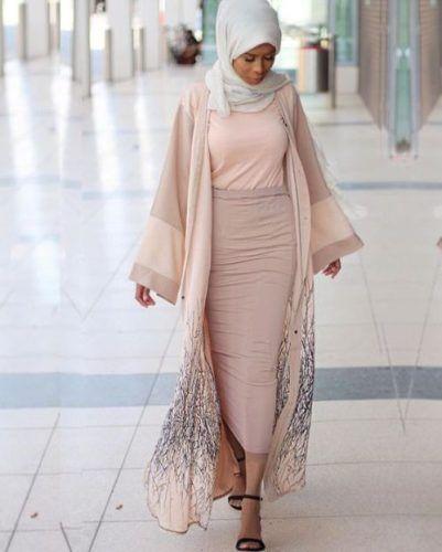 blush pastel neutral abaya style- Latest Abaya designs for 2016 http://www.justtrendygirls.com/latest-abaya-designs-for-2016/