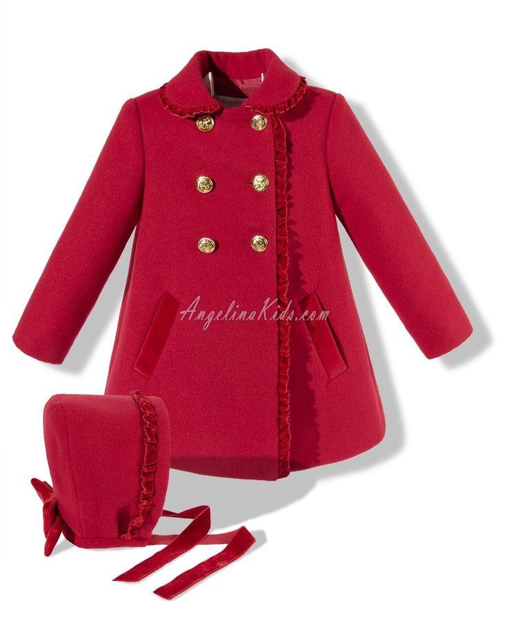 Abrigo con capota rojo y dorado