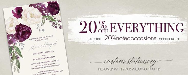 Notedoccasions is having a 25% off EVERYTHING sale on all custom wedding invitation suites on orders over $75! Just enter code 20%notedoccasions at checkout- its that easy!