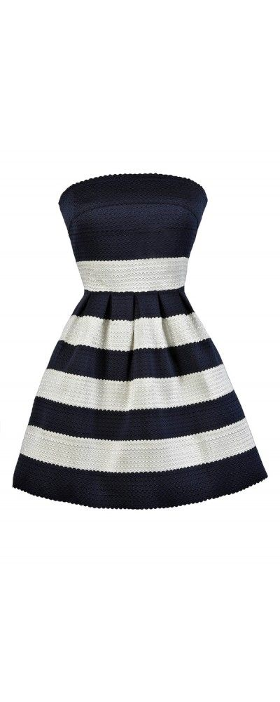 Nantucket Stroll Stripe A-Line Dress in Navy/Ivory  www.lilyboutique.com