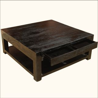 Mission Mango Hardwood Square Espresso Coffee Table Contemporary Tables Austin By