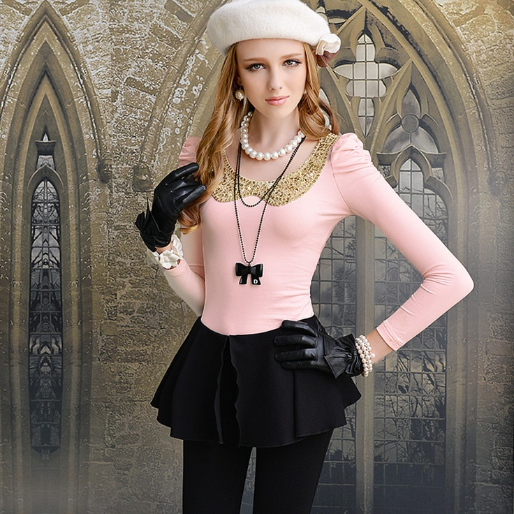 Womens summer Slim fit Polo Collar long Puff Sleeve Tshirt pink