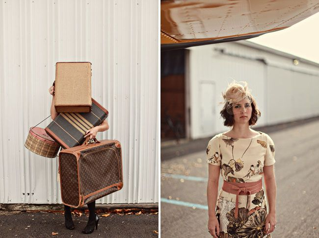 A Vintage Travel Inspired Anniversary Shoot – with a Yellow Airplane!