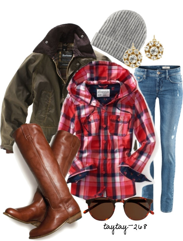 """Hooded Plaid"" by taytay-268 on Polyvore"