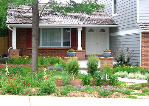 front yard xeriscape renovation our design projects. Black Bedroom Furniture Sets. Home Design Ideas
