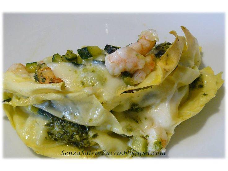 Senza Sale in Zucca: Lasagne zucchine, gamberi, bufala e pesto di Simone Rugiati