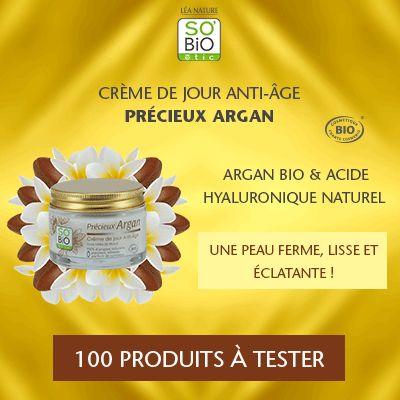Test produits - Crème de Jour Anti-âge - Précieux Argan de SO'BiO étic - Nous recherchons 100 testeurs ! Posez votre candidature gratuitement.