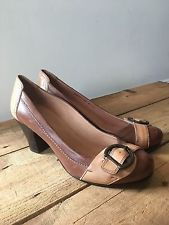 UK SIZE 6 WOMENS JONES BOOTMAKER BROWN AND TAN LEATHER COURT SHOES BUCKLE DETAIL