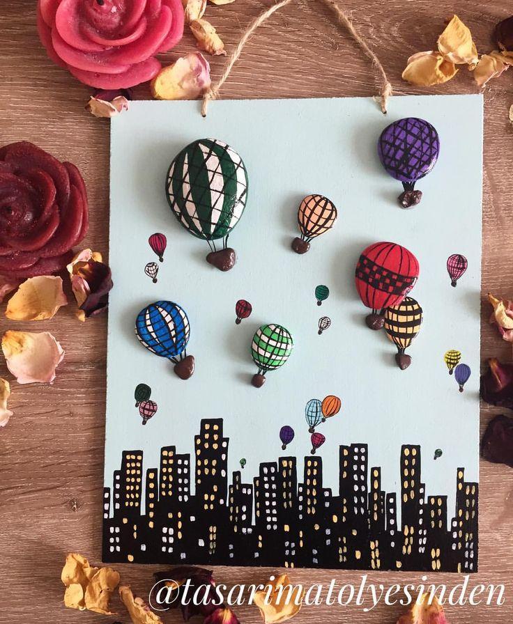 103 отметок «Нравится», 4 комментариев — Tasarım Atölyesinden  (@tasarimatolyesinden) в Instagram: «Kalabalık şehrin renkli ışıkları... (20x25cm)ürünümüz satıştadır. #taşboyama #tasarımlar…»