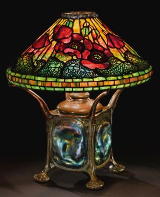Tiffany studios poppy table lamp in a gorgeous glass base