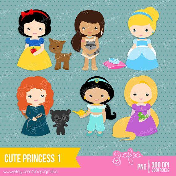 CUTE PRINCESS 1  Digital Clipart ,  Princess Clipart, Princess Clip Art  / Instant Download