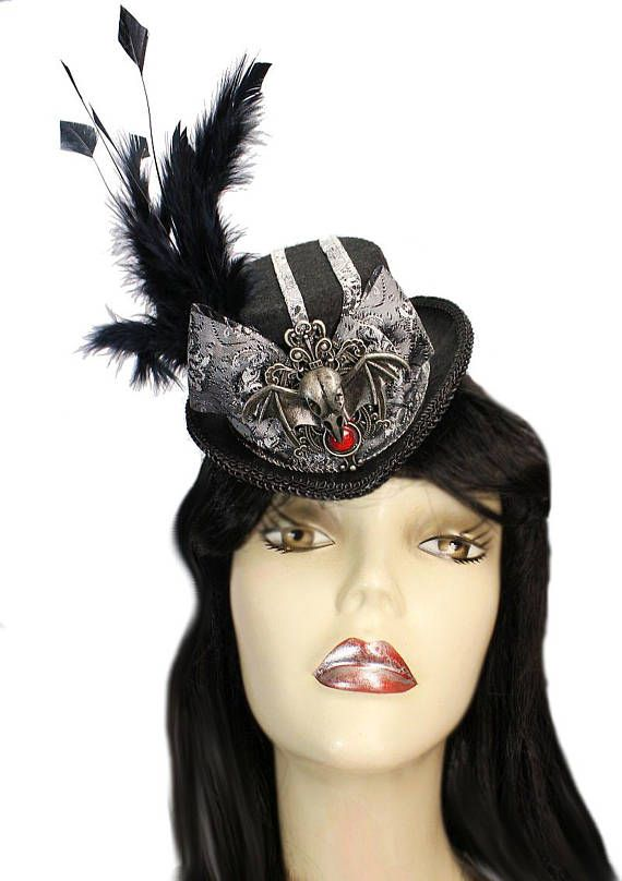 Mini Gothic Fascinator Top Hat Epitaph Silver Steampunk Party ... 119a7ac1fb2