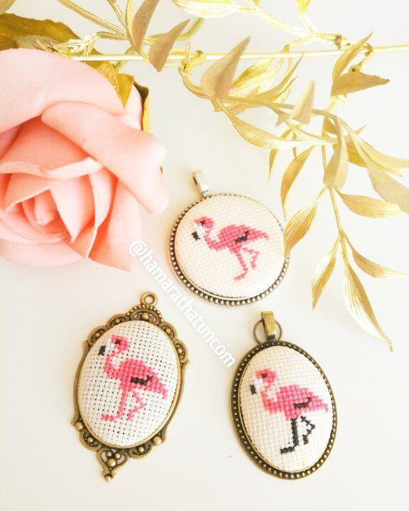 Flamingo El İşi Kanaviçe Kolye - kanaviçe kolye - embroidery necklace - вышивка колье - Handmade - Cross Stitch - Rococo - Rokoko - Brazilian embroidery -  embroidery - crossstitch - kanaviçe - el işi- brezilya nakışı - вышивка крестиком -  вышивка - ручной работы