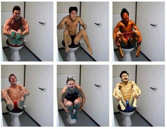 The Perfectly Timed Photos meme went into hyperdrive when photos of Olympic divers hit the web on PetaPixel. Putting the divers on toilets was an added touch of awesome.