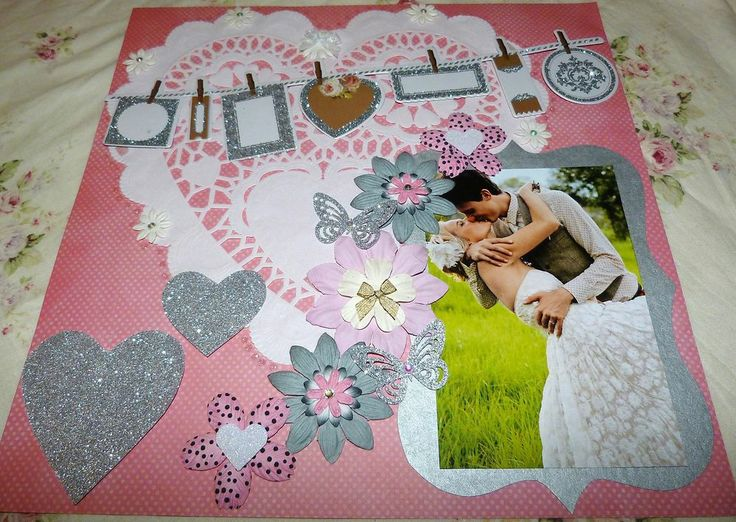 """SCRAPBOOK PAGE HANDMADE 12 X 12 """"No title""""....love...wedding page....reduced to $9.99"""