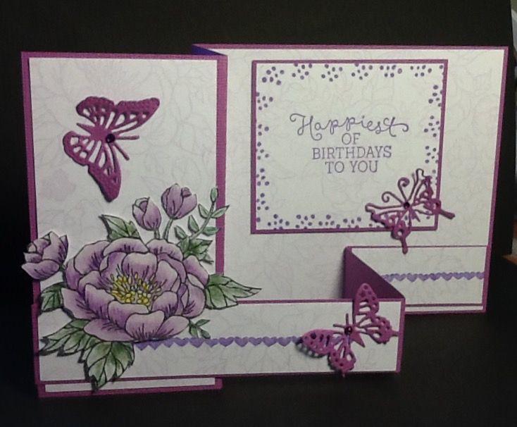 Birthday blooms z-fold card by Norma Makowski