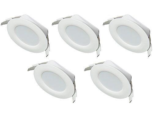 Ultra Flach LED Einbaustrahler IP44 | auch f�r das Bad geeignet | Warmweiss Kaltweiss | 4W 230V Einbauspots Badleuchten, 5 St�ck Einbauleuchten (Kaltweiss)