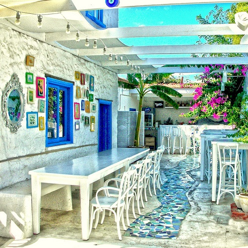 A cafe in Alaçatı, Izmir Province, Turkey. Alaçatı is an Aegean town on the western coast, which has been famous for its architecture, vineyards and windmills for over 150 years.