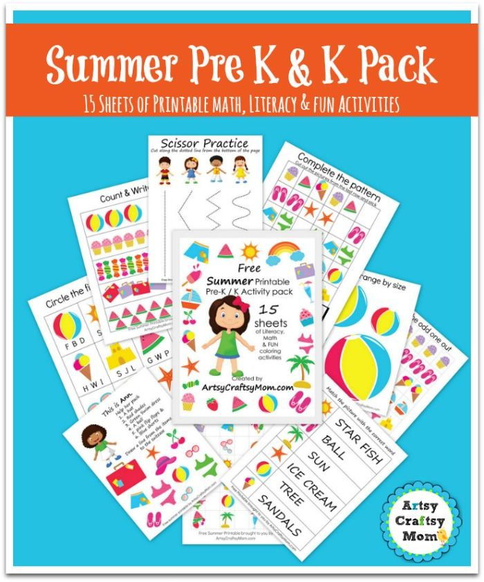 Free Summer Printable Pack for Preschool and Kindergarten - 15 pages with Math, early literacy, phonics & FUN learning activities perfect for summer!
