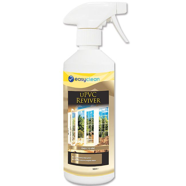 Now discoloured uPVC window frames, conservatories, guttering, drain pipes and garden furniture can be cleaned in just 30 seconds. Easyclean's uPVC Reviver is super-efficient at removing ingrained stains, yellowing, bird lime, dirt and grime - without scratching or dulling the glossy surface.