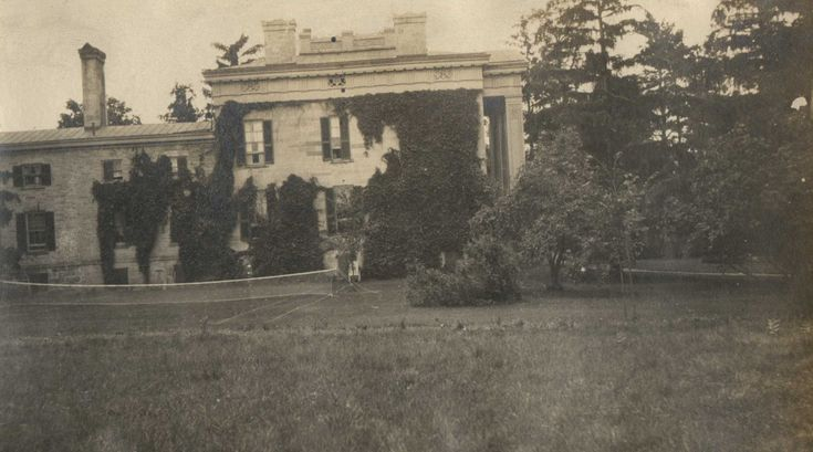 An undated black and white photograph of the Thompson Family Mansion at Ruthven Park, looking South from the field to the North of the Mansion.