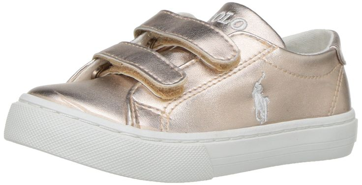 Polo Ralph Lauren Kids Baby Slater EZ Sneaker, Rose Gold/Metallic, 7.5 Medium US Toddler