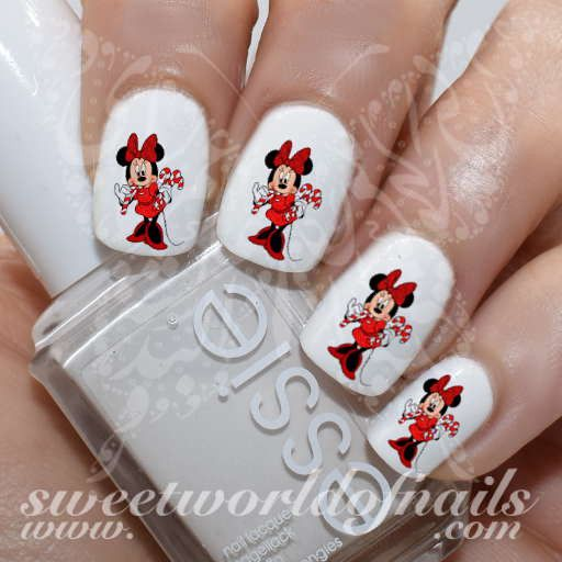Christmas Nail Art Disney Minnie Mouse Candy Cane Nail Water Decals Water Slides