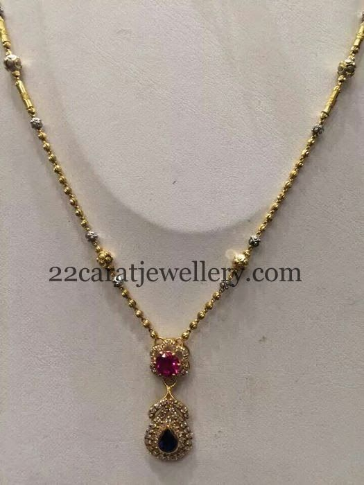 Simple Gold Set for Kurthis | Jewellery Designs
