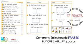 Cuaderno de 17 tareas de compensión de frases - BLOQUE1: