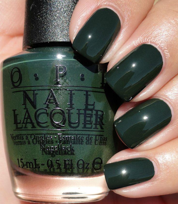 opi Front Runner is an ultra dark moss green crème.