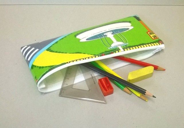 Large pencil case with School pattern, children's pencil case £5.50