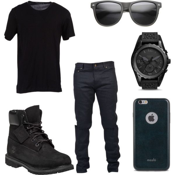 All Black Party Outfit for Men by deajhaboyd on Polyvore featuring Dolce&Gabbana, Yves Saint Laurent, FOSSIL, ZeroUV, Moshi, Timberland, men's fashion and menswear