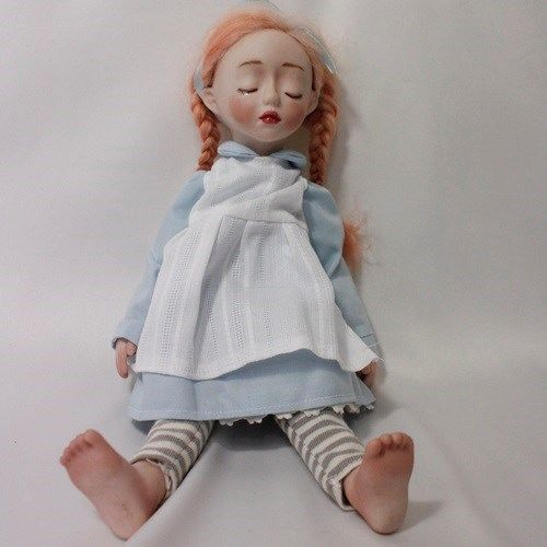 """""""ALICE"""" 10.6"""" BISQUE HANDMADE DOLL WITH RED HAIR BY WOOL"""