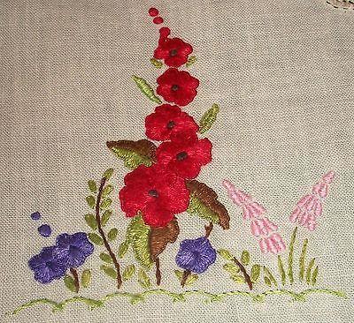 Vintage Ecru Linen Hand Embroidered Red Hollyhock Centrepiece Doily